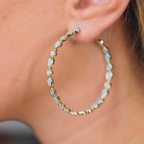 12399e803401c Opal Hoop Earrings NWT